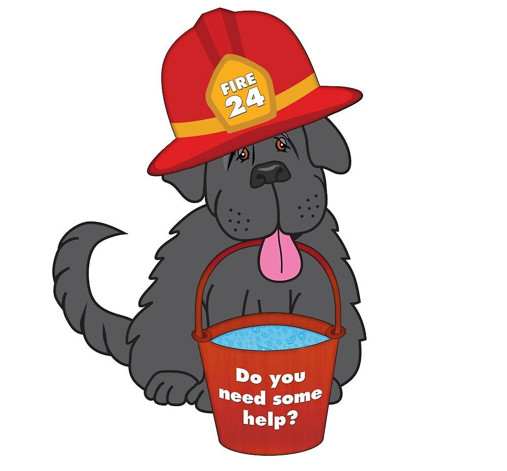 Newfoundland Dog Fire Fighter by Christine Mullis