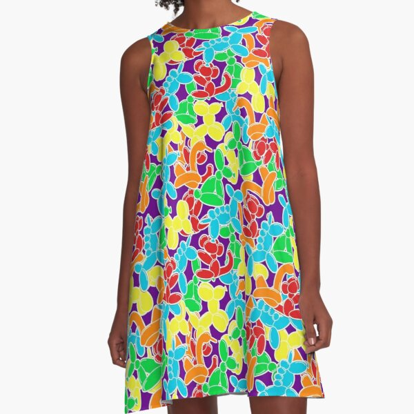 Jam Room Floor Balloon Animals A-Line Dress