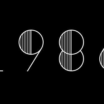 Vintage Paris 19886 White Numbers Typography Birth Date by Birthdates