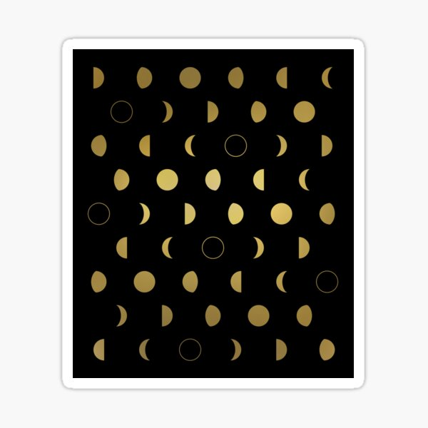 Gold moon phases pattern on black Sticker