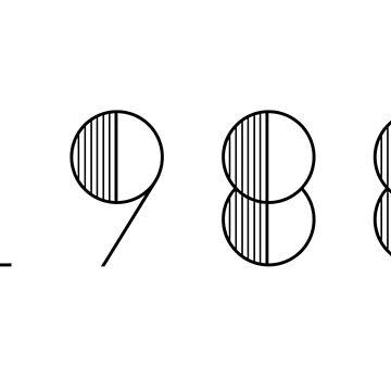 Vintage Paris 1988 Black Numbers Typography Birth Date by Birthdates