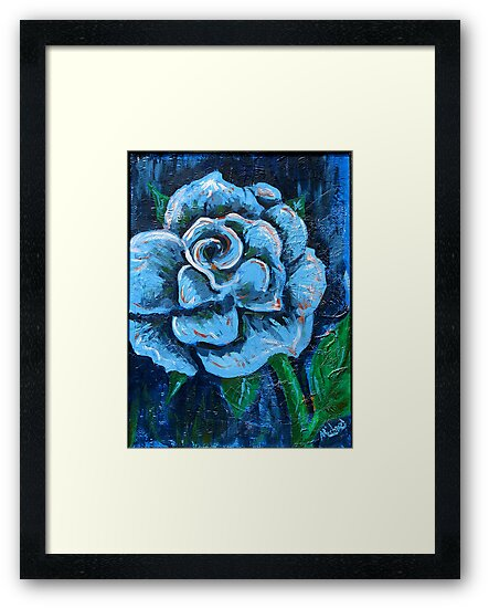 """""""Blue Rose"""" original signed acrylic painting on canvas by Michael Arnold"""