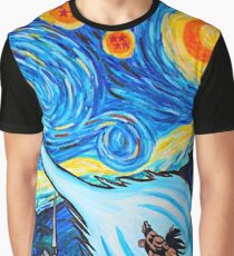 Van Gogh -ku / Goku Vs. Vegeta Dragon Ball Z Starry Night Graphic T-Shirt