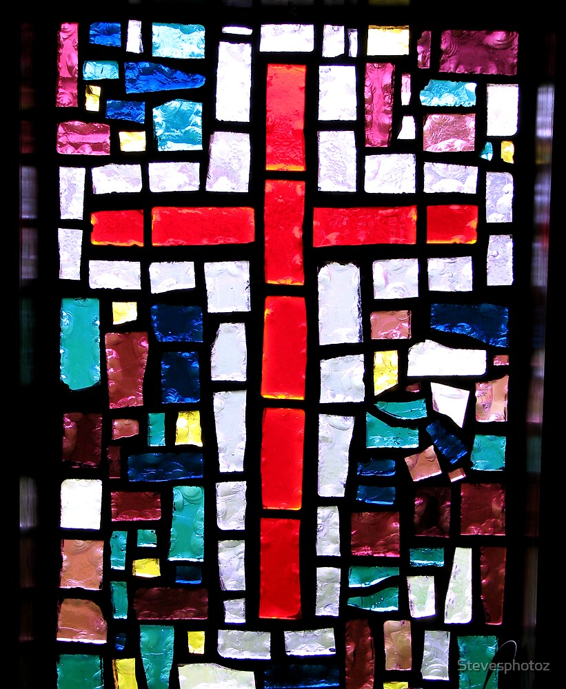 Red Cross Stained Glass Window by Stevesphotoz