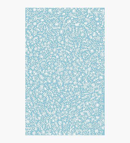 Petites fleurs blanches sur bleu Impression photo