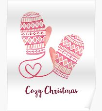 Mittens Cozy Christmas Poster