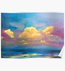 Sunset on Water Painting Poster