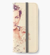 Milla Jovovich splatter painting iPhone Wallet/Case/Skin