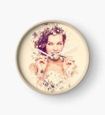 Milla Jovovich splatter painting Clock