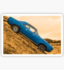 Blue Vintage American Car Sticker