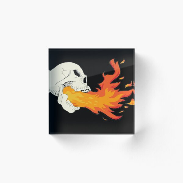 Flaming Skull Acrylic Block