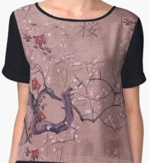 Japanese Sakura Print with Kanji Women's Chiffon Top