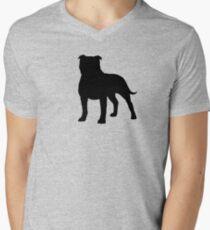 Staffordshire Bull Terrier Silhouette(s) Men's V-Neck T-Shirt