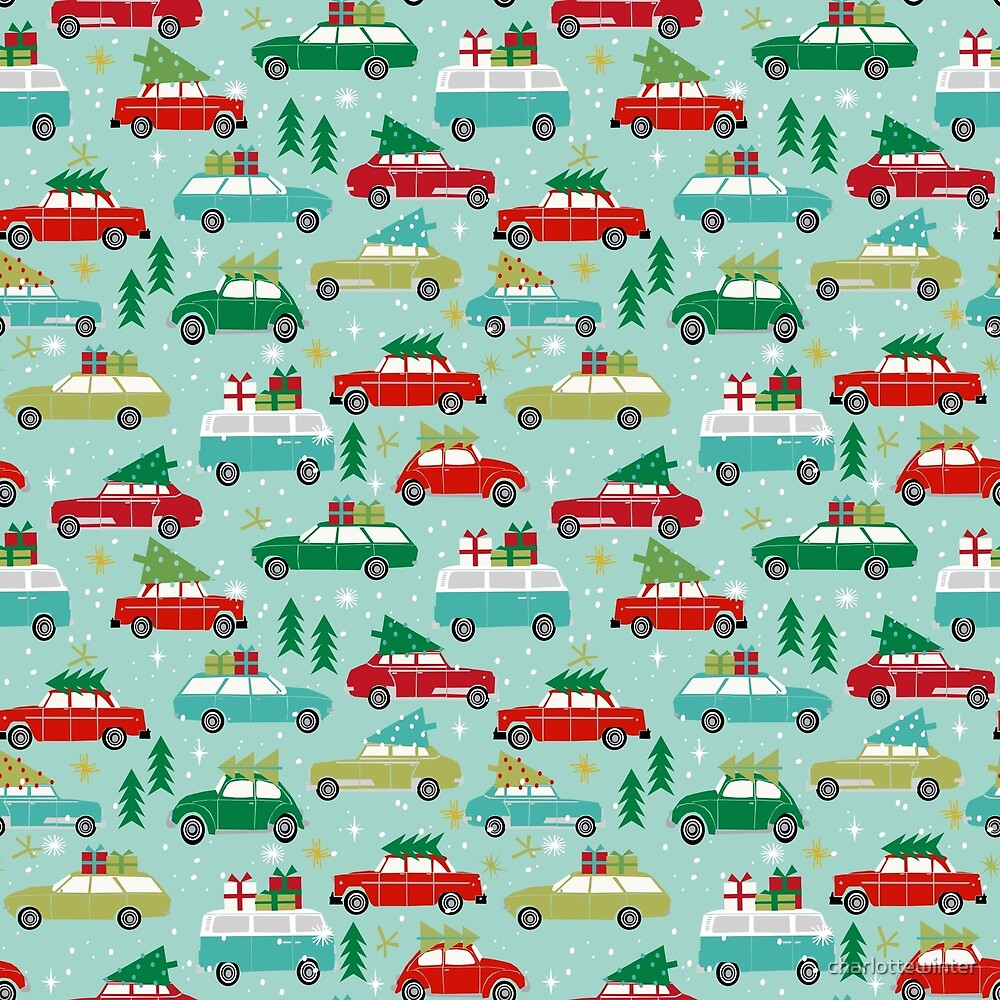 Christmas car tradition christmas trees holiday pattern winter festive  by charlottewinter