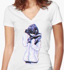 Camiseta entallada de cuello en V FRÍO - Triste japonés estético