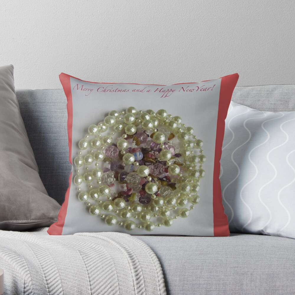 Merry Christmas. Vintage beads design Throw Pillow