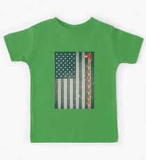 Distressed American Flag Santa's Sleigh with Reindeer Kids Clothes