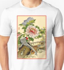 BIRDS in FLOWER GARDEN : Vintage Chinese Art Print T-Shirt