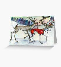 """Walking the Red-Nosed Reindeer"" Greeting Card"