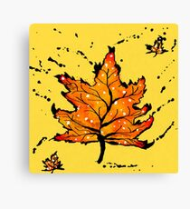 Inky leaves Canvas Print