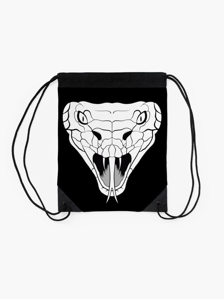 Alternate view of Snake head line-art Drawstring Bag