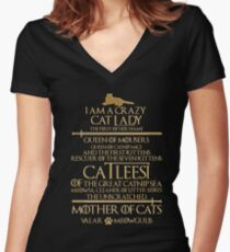 Mother Of Cats. Catleesi  Women's Fitted V-Neck T-Shirt