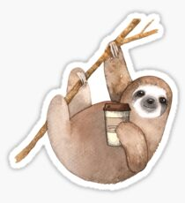 Three Toed Sloth Just Hangin' Out Enjoying a Coffee Sticker