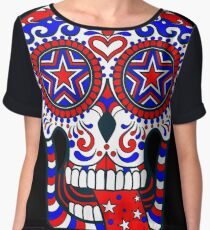 Day of the Dead Red White Blue USA Patriotic Sugar Skull Women's Chiffon Top