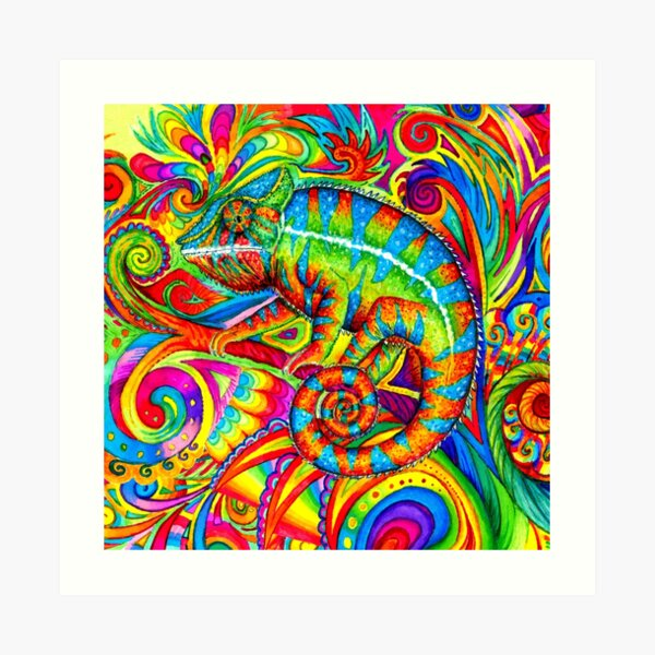 Psychedelizard Psychedelic Chameleon Colorful Rainbow Lizard Art Print