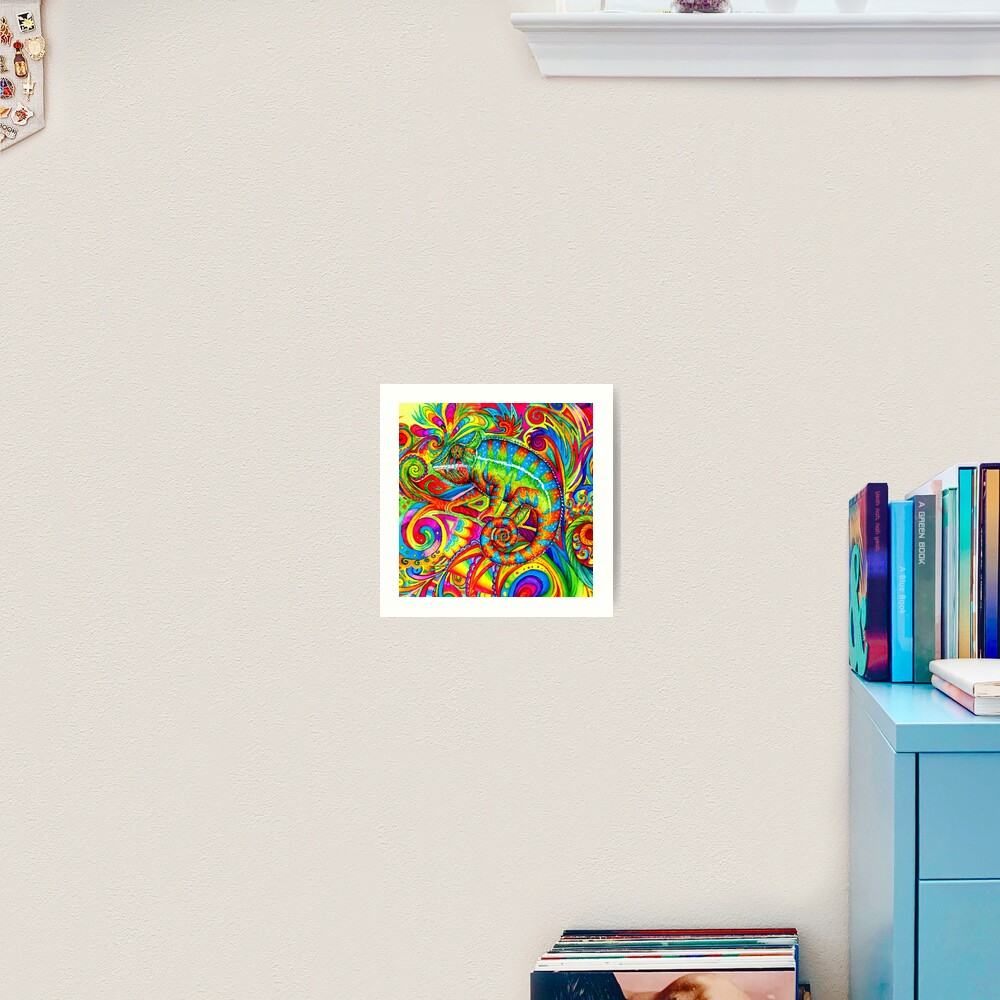 Psychedelizard Psychedelic Chameleon Colorful Rainbow Lizard Art Print
