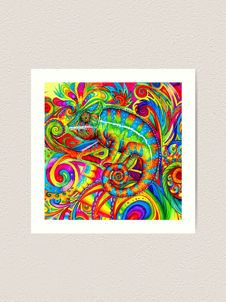 Alternate view of Psychedelizard Psychedelic Chameleon Colorful Rainbow Lizard Art Print