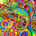 Psychedelizard Psychedelic Chameleon Colorful Rainbow Lizard by Rebecca Wang