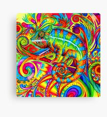 Psychedelizard Psychedelic Chameleon Colorful Rainbow Lizard Canvas Print