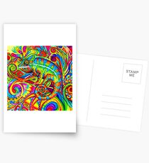 Psychedelizard Psychedelic Chameleon Colorful Rainbow Lizard Postcards