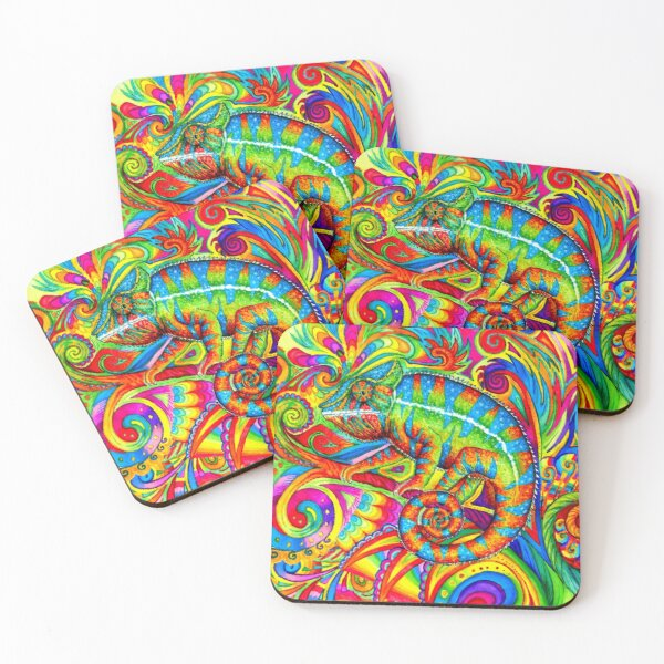 Psychedelizard Psychedelic Chameleon Colorful Rainbow Lizard Coasters (Set of 4)