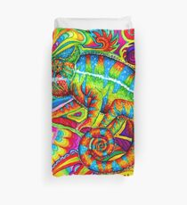 Psychedelizard Psychedelic Chameleon Colorful Rainbow Lizard Duvet Cover