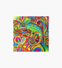 Psychedelizard Psychedelic Chameleon Colorful Rainbow Lizard Art Board
