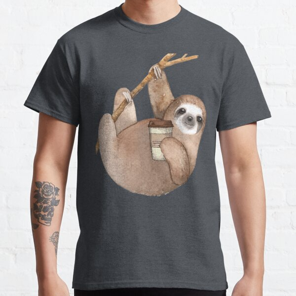 Three Toed Sloth Just Hangin' Out Enjoying a Coffee Classic T-Shirt