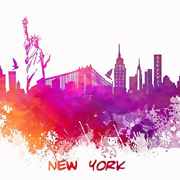 Skyline New York City pink red by JBJart