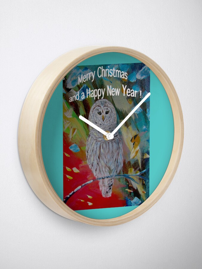 Alternate view of White owl. Christmas design Clock