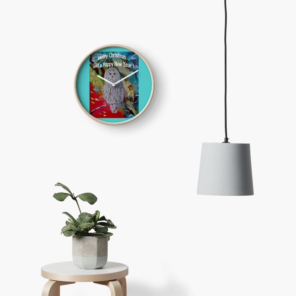 White owl. Christmas design Clock