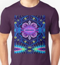 Psychedelic ornament. Bright neon forms. Ultraviolet illustration. Abstract glowing pattern. Indian, Korean,  Mexican, Arabic, crochet ornament T-Shirt