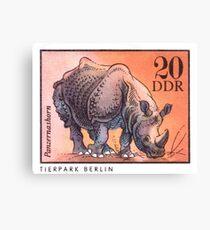1975 East Germany Zoo Rhinoceros Postage Stamp Canvas Print