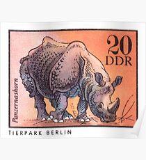 1975 East Germany Zoo Rhinoceros Postage Stamp Poster