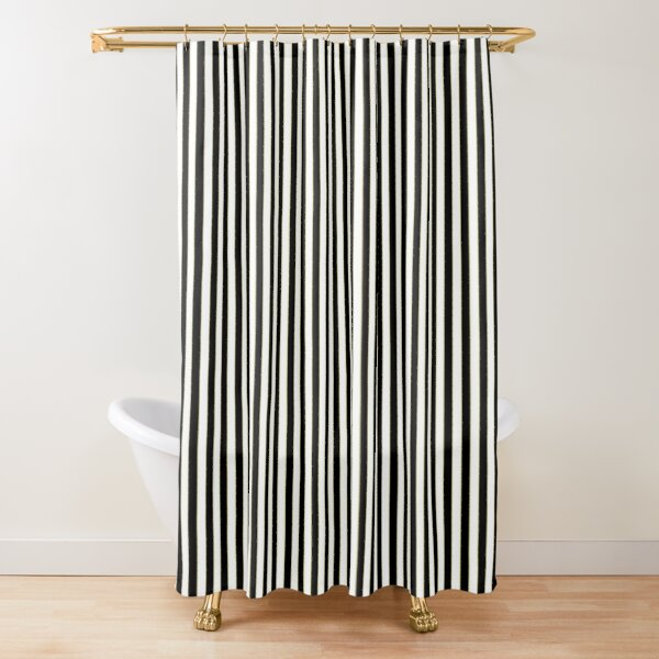 Thin Alternating Vertical Gold Black and White Art Deco Stripes Shower Curtain