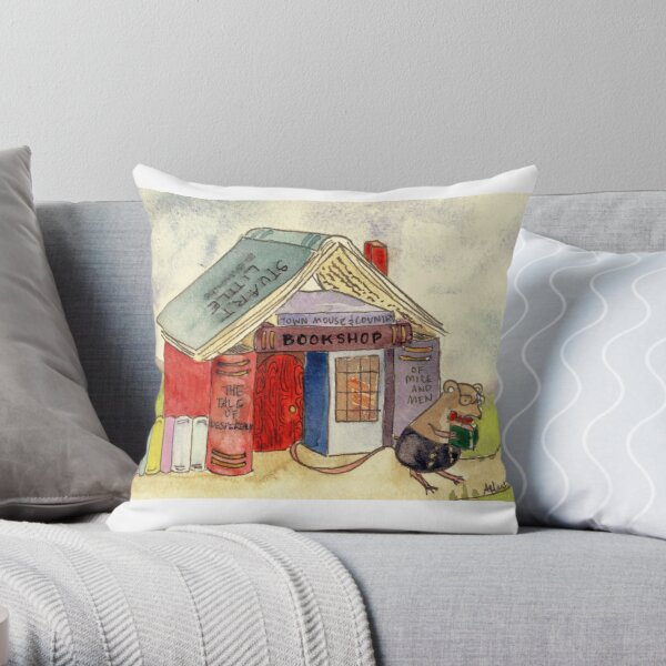 The Mouse's Bookshop Throw Pillow