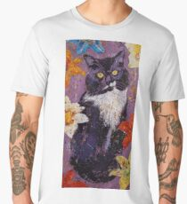 Cat with Tiger Lilies Men's Premium T-Shirt