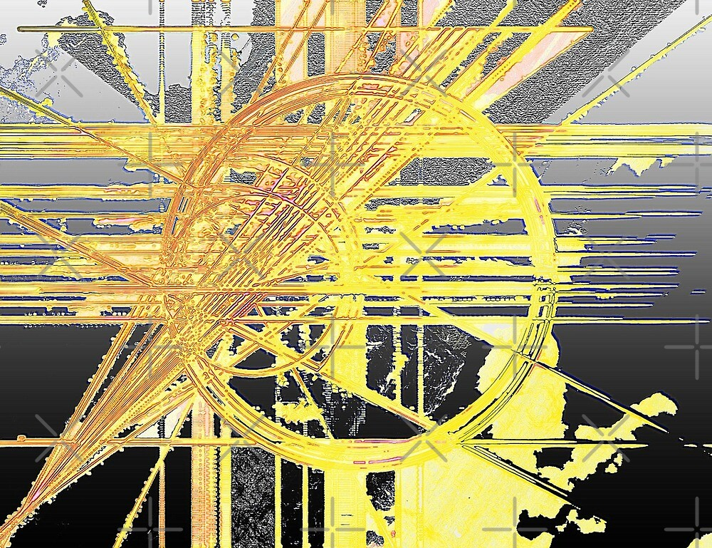 yellow and silver abstract by don quackenbush