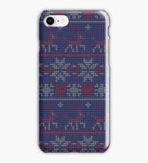 Christmas seamless pattern. Knitted festive illustration. Ugly sweater style. Nordic ornament. iPhone Case/Skin