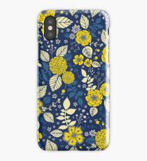 Bright Yellow & Blue Floral Print - Vibrant Flowers iPhone Case/Skin